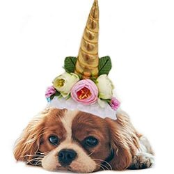 Stock Show 1Pc Halloween Pet Unicorn Shape Hat with Ribbon String Cat Dog Headwear with Flower Decor Pet Birthday Party Festival Supplies Halloween Pet Costume Accessory for Small Dog Cat, Golden