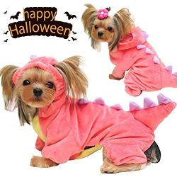 GBD Halloween Costume for Pet Dog Dinosaur Costume with Hood for Small Dogs Cats Jumpsuit Winter Coat Warm Clothes