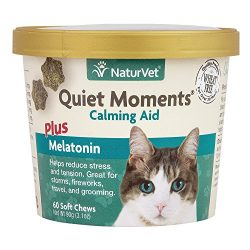 NaturVet -Quiet Moments Calming Aid for Cats Plus Melatonin – 60 Soft Chews – Helps Reduce Stress & Promote Relaxation – Great for Storms, Fireworks, Travel & Grooming