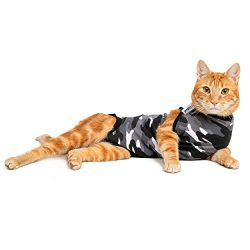 Suitical Recovery Suit Cat, Extra Small, Black Camouflage