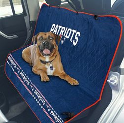 Pets First NFL CAR SEAT Cover – New England Patriots Waterproof, Non-Slip Best Football Licensed PET SEAT Cover for Dogs & Cats.