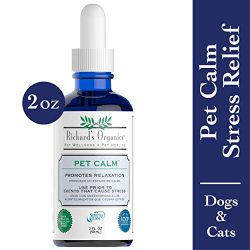 Richard's Organics Pet Calm – Naturally Relieves Stress and Anxiety in Dogs and Cats – 100% Natural, Drug-Free, Settles Nerves and Reduces Hyperactivity (2 oz. Bottle with Dropper)