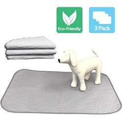 Highly Absorbent Reusable Washable Pet Training Pads with Waterproof Bottom (Pack of 3) Grey Fit Standard Cage