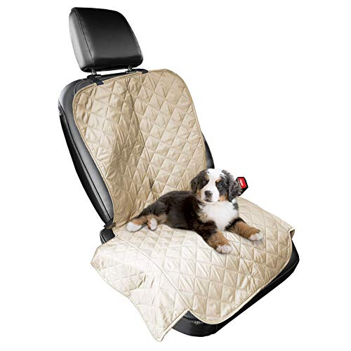 Furhaven Pet Furniture Cover | Universal Water-Resistant Quilted Car Bucket Seat Cover Protector for Dogs & Cats, Clay, Single-Seat