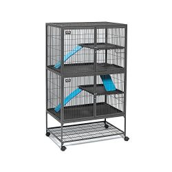 MidWest Deluxe Ferret Nation Double Unit Ferret Cage (Model 182) Includes 2 leak-Proof Pans, 2 Shelves, 3 Ramps w/Ramp Covers & 4 locking Wheel Casters, Measures 36″ L x 25″ W x 62.5″ H Inches