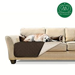 Furhaven Pet Furniture Cover | Sofa Buddy Two-Tone Reversible Water-Resistant Living Room Furniture Cover Protector Pet Bed for Dogs & Cats, Espresso/Clay, Large