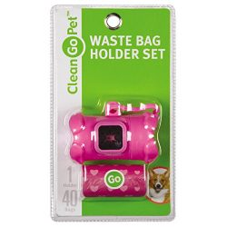 Clean Go Pet Bone Dog Waste Bag Holder, Clip and Two Rolls of Durable, Leakproof Black Plastic Poop Bags