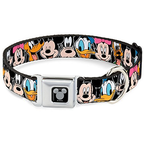 Buckle-Down Seatbelt Buckle Dog Collar – Classic Disney Character Faces Black – 1″ Wide – Fits 15-26″ Neck – Large