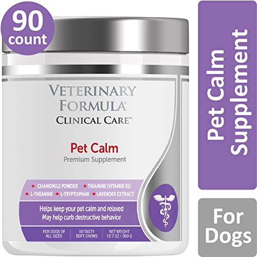 Veterinary Formula Clinical Care Premium Dog Supplement, Pet Calm, 90 Soft Chews – Pet Calming Aid, Clinically Proven Dog Supplement, Helps Reduce Hyperactivity While Promoting Relaxation