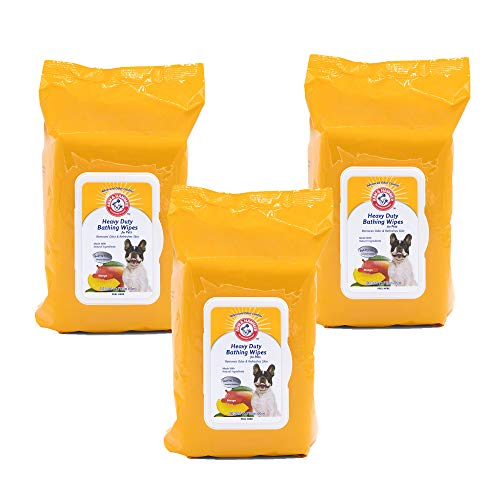 Arm & Hammer Heavy Duty Multipurpose Pet Bath Wipes | Dog Wipes Remove Odor & Refreshes Skin | Mango, 100 Count – 3 Pack