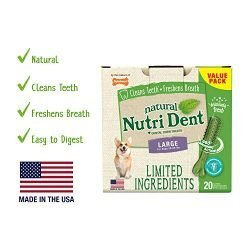 Nutri Dent Limited Ingredient Dental Dog Chews | Large Size | Filet Mignon Or Fresh Breath Flavors