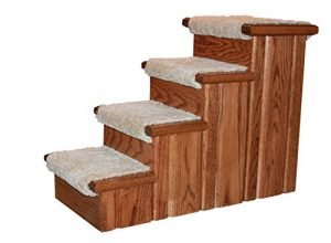 Premier Pet Steps Tall Raised Panel Dog Steps, Carpeted Tread with Stained Early American, 23-Inch