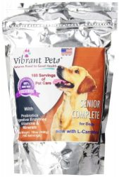 Vibrant Pets SC16 Senior Complete Dog Immune System Supplement | Older Dog Muscle and Joint Supplement with Probiotics and Enzymes for Digestion | Nutrient-Rich Skin and Coat Immune Booster Powder, 16 oz.