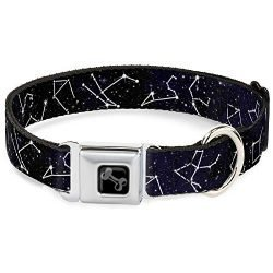 Dog Collar Seatbelt Buckle Constellations 14 Galaxy White 9 to 15 Inches 1.0 Inch Wide