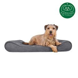 Furhaven Pet Dog Bed | Orthopedic Micro Velvet Ergonomic Luxe Lounger Cradle Mattress Contour Pet Bed w/ Removable Cover for Dogs & Cats, Gray, Large
