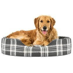 Furhaven Pet Dog Bed | Round Oval Cuddler Terry Fleece & Plaid Nest Lounger Pet Bed for Dogs & Cats, Smoke Gray, Extra Large