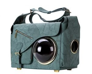 CLOVERPET C0401 Innovative Fashion Bubble Pet Travel Carrier Backpack for Cats Dogs Puppy, Greyish Green