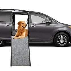 Mind Reader DCARAMP-BRN Dog Car, Foldable, Portable Lightweight Dog & Cat Ramp, Pet Safe Loader, Brown