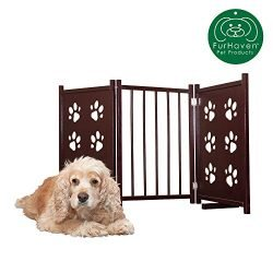 Furhaven Pet Gate | Paw Print Cutout Wood Finish Traditional Free Standing Folding Doorway Pet Gate Barrier for Dogs, Mahogany, 48″ x 24.5″