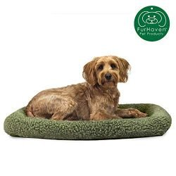 Furhaven Pet Dog Bed Kennel Pad | Faux Lambswool & Sherpa Crate or Kennel Mat Bolster Pet Bed for Dogs & Cats, Sage, Medium