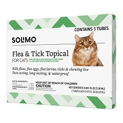 Amazon Brand – Solimo Flea and Tick Topical Treatment for Cats (over 1.5 pounds), 3 Doses