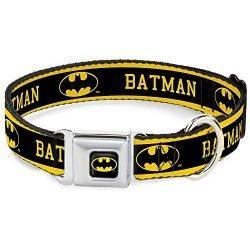 Dog Collar Seatbelt Buckle Batman Logo Stripe Yellow Black 15 to 26 Inches 1.0 Inch Wide