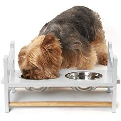 Furhaven Pet Feeder | Ladder Style Height Adjustable Raised Kitchen Pet Feeding Station W/ Stainless Steel Food Bowls for Dogs & Cats, White, Small