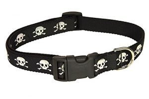 Medium Black Reflective Skull Dog Collar: 3/4″ Wide, Adjusts 13-20″ – Made in USA.