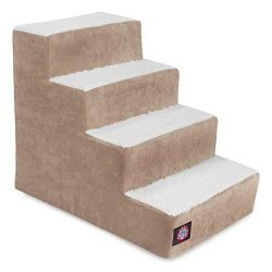 Majestic Pet Portable Pet Stairs | Soft Sherpa Steps Foam Feeling | Steps for Dogs & Cats | Dog & Cat Ramp | Perfect for Bed & Sofa | Indoor Only | Max Weight: up to 250 Lbs 78899500212, Pearl
