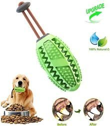 Upgraded Dog Treat Toy Food Dispensing Training Ball, Tooth Cleaning Chew Toy for Small Medium Dogs IQ Interactive Puppy Depressing Toys, Pet Bad Breath Cleaning Toy – Green