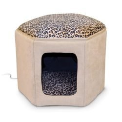 K&H Pet Products Thermo-Kitty Sleephouse Heated Pet Bed Tan/Leopard 12″ x 17″ 4W