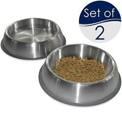 PetFusion Premium Brushed Anti-Tip Dog & Cat Bowls (Set of 2 Bowls). Food Grade Stainless Steel. Bonded Silicone Ring for Traction