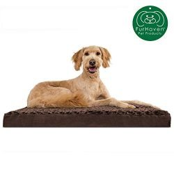 Furhaven Pet Dog Bed   Deluxe Memory Foam Mat Ultra Plush Faux Fur Traditional Foam Mattress Pet Bed w/ Removable Cover for Dogs & Cats, Chocolate, Large