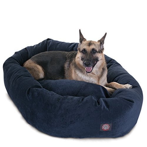 52 inch Navy Villa Collection Micro Velvet Bagel Dog Bed By Majestic Pet Products
