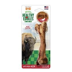Nylabone Healthy Edibles Wild Bison Dog Treats | All Natural Grain Free Dog Treats Made In the USA Only | Small and Large Dog Chew Treats | 1 Count