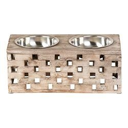 Huntley Pet Elevated Dog & Cat Double Bowl Feeder Stainless Steel Bowls (Berjen Block, Large)
