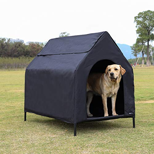 AmazonBasics Elevated Portable Pet House – Large, Black