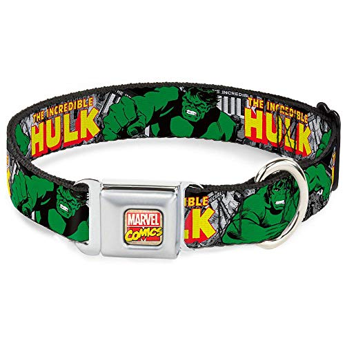 Buckle-Down Seatbelt Buckle Dog Collar – THE INCREDIBLE HULK Action Poses/Stacked Comics – 1″ Wide – Fits 15-26″ Neck – Large