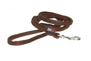 Dogline Soft and Padded Comfort Microfiber Round Leash for Dogs (W 3/8″ L 6ft), Brown
