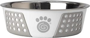 PetRageous Fiji 6.5 Cups Stainless Steel Bowl in White/Light Gray