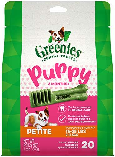 GREENIES Puppy 6+ Months Petite Natural Dog Dental Care Chews Oral Health Dog Treats, 12 oz. Pack (20 Treats)