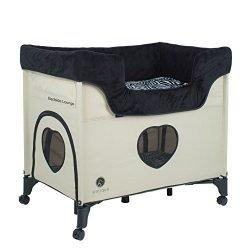 PETIQUE Bedside Lounge-Zebra Vibes Pet Bed, Crème, One Size