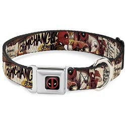 Dog Collar Seatbelt Buckle Deadpool Kills Deadpool 2 Cover Dynamite Chimichanga 18 to 32 Inches 1.5 Inch Wide