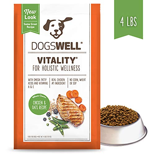 Dogswell Vitality Dry Dog Food, Vitamins & Essential Fatty Acids, Chicken & Oats Recipe, 4 lbs