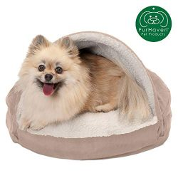 Furhaven Pet Dog Bed   Orthopedic Round Cuddle Nest Faux Sheepskin Snuggery Blanket Burrow Pet Bed w/ Removable Cover for Dogs & Cats, Cream, 18-Inch