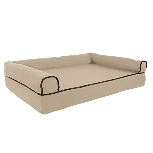 PETMAKER Orthopedic Pet Sofa Bed with Memory Foam and Foam Stuffed Bolsters 35.5x24x8 Tan